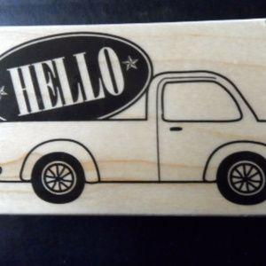 Hero Arts Rubber Stamp Hello Greetings Truck